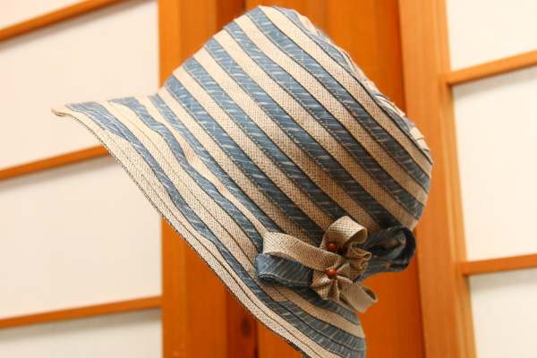 からむし織帽子 絣地とのブレード